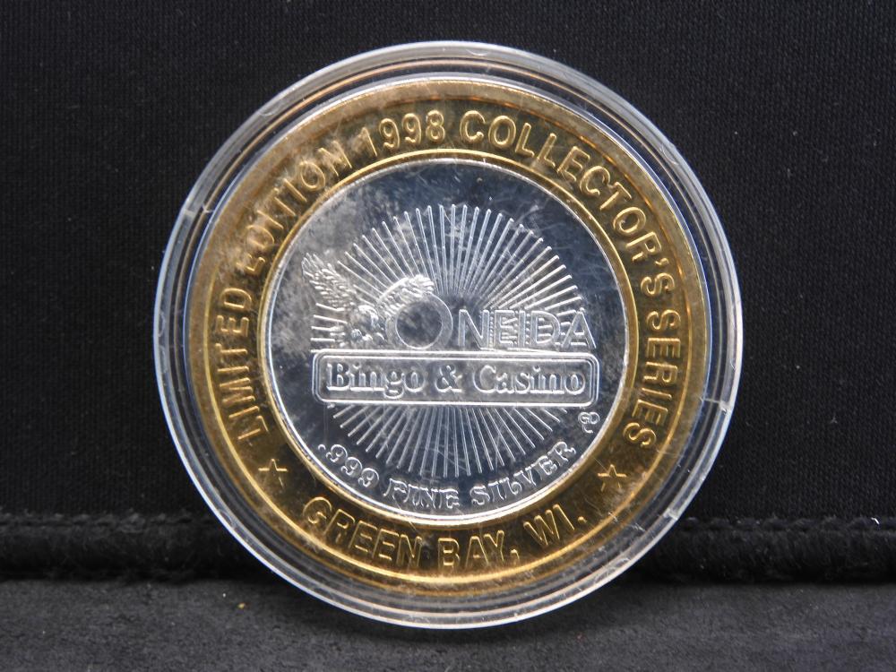 Casino 1998 Limited Edition .999 Silver Center - Oneida Bingo & Casino - Green Bay, WI