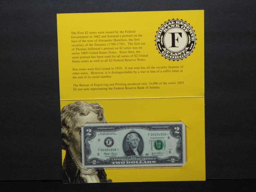 Series 2003 U.S. $2.00 Single Star Note - Federal Reserve Bank of Atlanta in Nice Colorful Folder