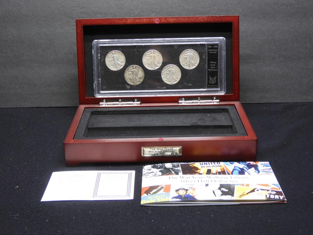 The War Years Walking Liberty Silver Half Dollar Set - 5 Halves in Beautiful Wooden Box - COA