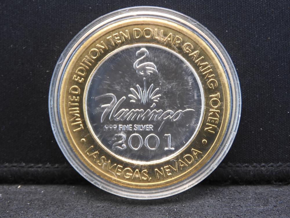 Casino Token Limited Edition $10 .999 Fine Silver Center- 2001 Flamingo Millennium Edition- Las Vegas, Nevada