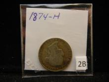 1874-H Canadian 25 Cents  92.5% Silver