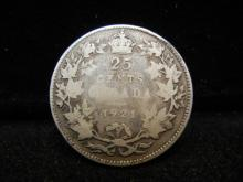 1921 Canadian 25 Cents 80% Silver Key Date