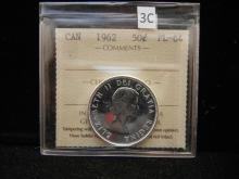 1962 Canadian 50 Cents  80% Silver ICCS PL-64