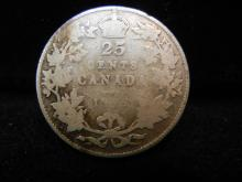 1915 Canadian 25 Cents  92.5% Silver Key Date