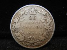 1918 Canadian 25 Cents  92.5% Silver