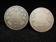 (2) 1901 Canadian 25 Cents  92.5% Silver
