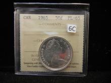 1965 Canadian 50 Cents  80% Silver ICCS PL-65