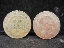 1921 and 1922 Australian One Penny
