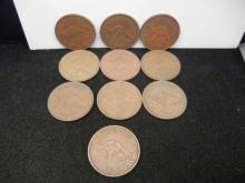 (10) Australian Pennies Mixed Dates 1942-1960