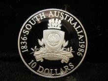 1986 South Australia 10 Dollar Coin 92.5% Silver Proof Like