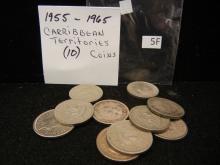 (10) Caribbean Territories Coins 1955-1965 Mixed Dates