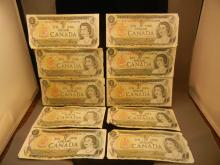 (10) 1973 Canadian $1 Notes