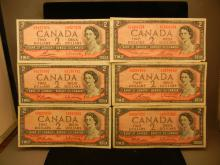 (6) 1954 Canadian $2 Notes