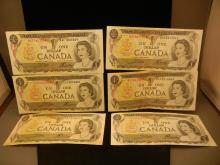 (6) 1973 Canadian $1 Notes