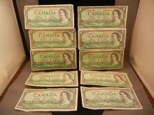 (10) 1954 Canadian $1 Notes