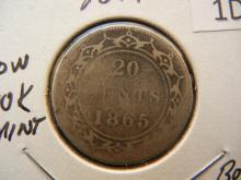 1865 Newfoundland 20 Cents 92.5% Silver