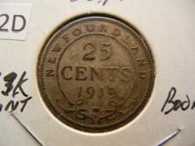 1919-C Newfoundland 25 Cents 92.5% Silver