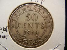 1919-C Newfoundland 50 Cents 92.5% Silver