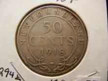 1918-C Newfoundland 50 Cents 92.5% Silver