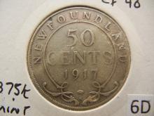 1917-C Newfoundland 25 Cents 92.5% Silver
