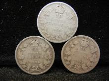 1905, 1906, and 1909 Canadian 10 Cents Silver