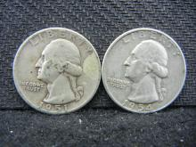 1951 & 1954-D Washington Quarters - 90% Silver