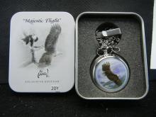 Majestic Flight Pocket Watch With Chain & Case - Works Great!