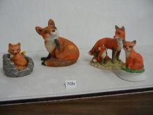 4 Ceramic Fox Figurines