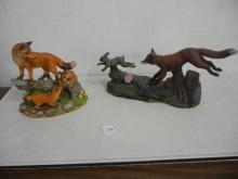2 Ceramic Fox in Nature Scene Figures ( 1 with Broken Ear )
