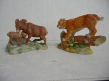 2 Ceramic Nature Scenes One with Bighorn Sheep and One Bobcat ( Bobcat has Broken Leaf )