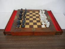 Table Top Chess Set with White and Black Granite Pieces ( Missing 1 White Pawn )