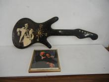 George Jones Wood Guitar Shaped Clock with Hanging Picture of Him with His Wife