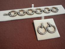 MM Crystal .925 Silver Bracelet 28ct and Matching Earrings 10ct
