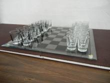 Glass Chess Board with Shot Glass Pieces ( Crack in Board )