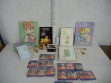 Lot of Misc.  Precious Moments-Collector Book, Gift of Love Book, Stationary, Coloring Books, Collector Cards, Micro 110 Camera, Prayer Book, Orn.