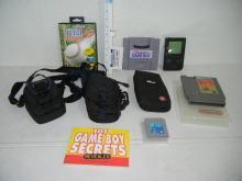 Nintendo Game Iron Tank, Sega Genesis RBI 93 Baseball Game,1989-96 Nintendo Game W/Sea Quest Game,101 Game Boy Secrets Book, & 3 Carrying Bags, Nintendo Super NES Game Boy Adapter