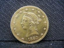 GOLD - 1880 Liberty Head $10 - 90% Gold Coin