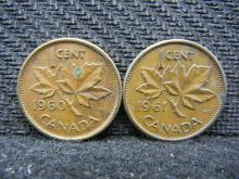 1960 & 1961 Canadian Pennies