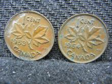 1953 & 1954 Canadian Pennies