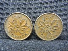 1962 & 1963 Canadian Pennies