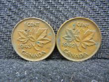 1942 & 1943 Canadian Pennies