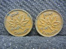 1940 & 1945 Canadian Pennies