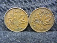 1958 & 1959 Canadian Pennies