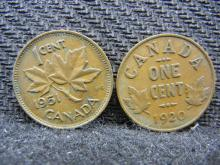 1920 & 1951 Canadian Pennies