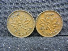 1945 & 1947 Canadian Pennies