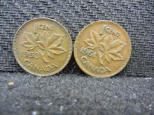 1952 & 1953 Canadian Pennies