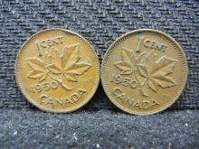 (2) 1950 Canadian Pennies