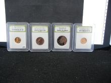 1965 BU Lincoln Cents, 1976-D BU Washington Quarter, 2000-S DCAM Kennedy Half, & 2009 BU Lincoln Cents