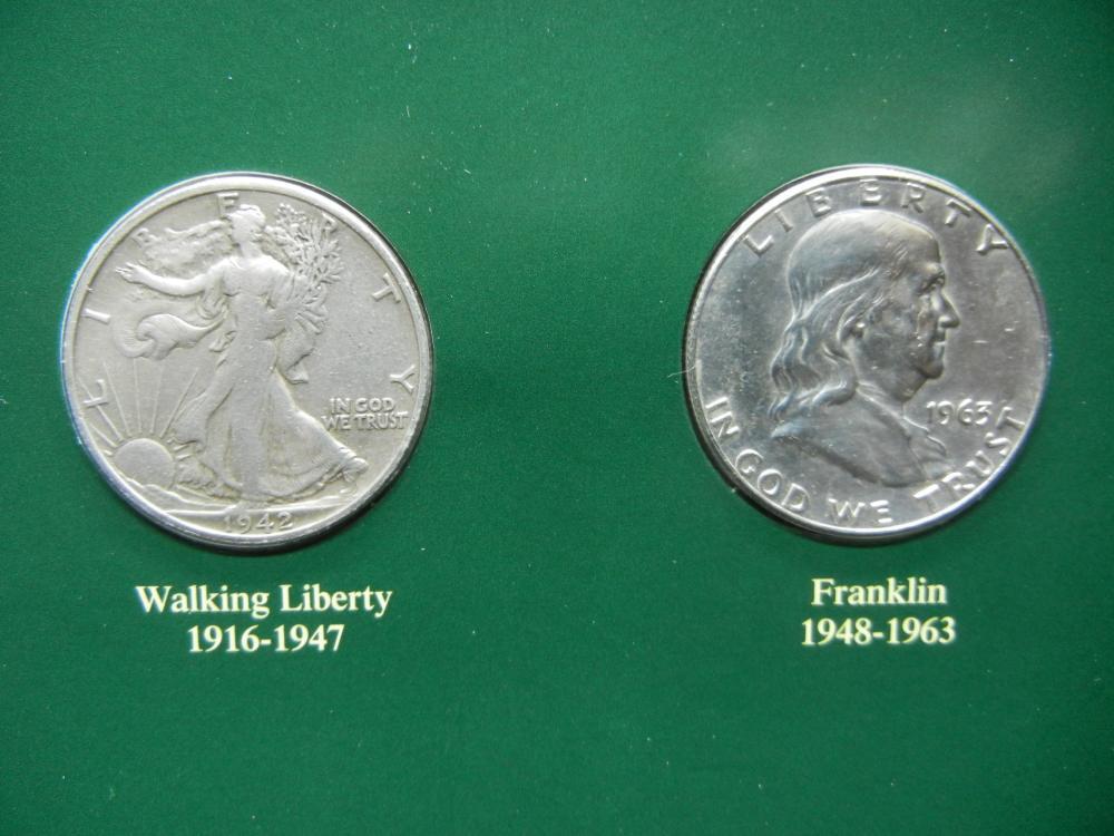 1942-S, 1963-D Walker & Franklin 1/2 Dollars  High grade  With OLD STAMP