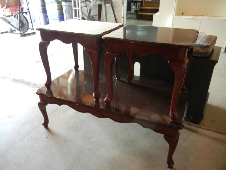 3 Pc Queen Anne Style Coffee Table And End Table Set